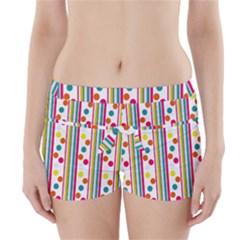 Stripes Polka Dots Pattern Boyleg Bikini Wrap Bottoms