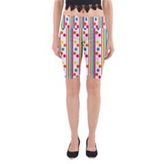 Stripes Polka Dots Pattern Yoga Cropped Leggings