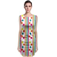 Stripes Polka Dots Pattern Classic Sleeveless Midi Dress