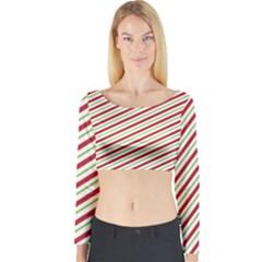 Stripes Striped Design Pattern Long Sleeve Crop Top