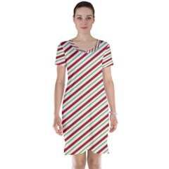 Stripes Striped Design Pattern Short Sleeve Nightdress