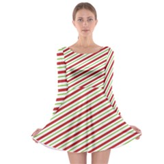 Stripes Striped Design Pattern Long Sleeve Skater Dress