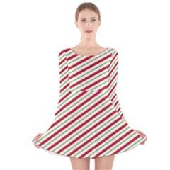Stripes Striped Design Pattern Long Sleeve Velvet Skater Dress