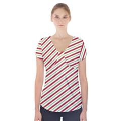 Stripes Striped Design Pattern Short Sleeve Front Detail Top