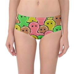 Sweet Dessert Food Gingerbread Men Mid Waist Bikini Bottoms