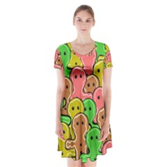 Sweet Dessert Food Gingerbread Men Short Sleeve V-neck Flare Dress