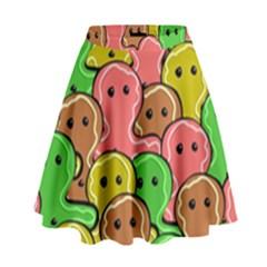 Sweet Dessert Food Gingerbread Men High Waist Skirt