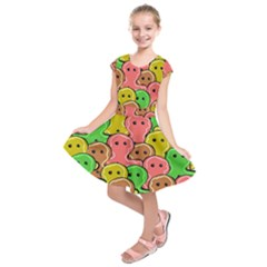Sweet Dessert Food Gingerbread Men Kids  Short Sleeve Dress