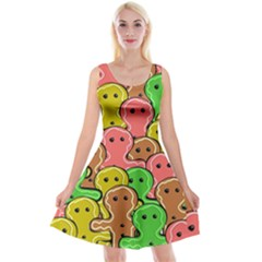 Sweet Dessert Food Gingerbread Men Reversible Velvet Sleeveless Dress
