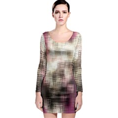 Stylized Rose Pattern Paper, Cream And Black Long Sleeve Bodycon Dress