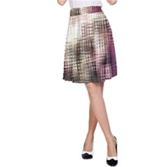 Stylized Rose Pattern Paper, Cream And Black A Line Skirt