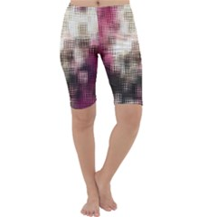 Stylized Rose Pattern Paper, Cream And Black Cropped Leggings