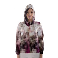 Stylized Rose Pattern Paper, Cream And Black Hooded Wind Breaker (Women)