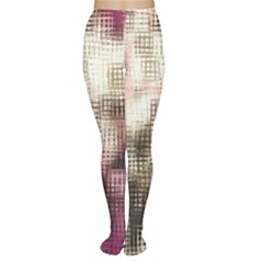 Stylized Rose Pattern Paper, Cream And Black Women s Tights
