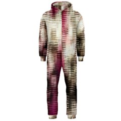 Stylized Rose Pattern Paper, Cream And Black Hooded Jumpsuit (Men)