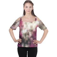 Stylized Rose Pattern Paper, Cream And Black Women s Cutout Shoulder Tee