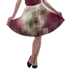 Stylized Rose Pattern Paper, Cream And Black A Line Skater Skirt