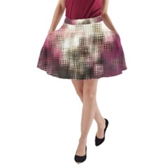 Stylized Rose Pattern Paper, Cream And Black A Line Pocket Skirt