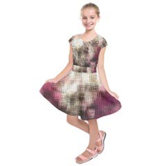 Stylized Rose Pattern Paper, Cream And Black Kids  Short Sleeve Dress