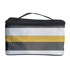 Textile Design Knit Tan White Cosmetic Storage Case