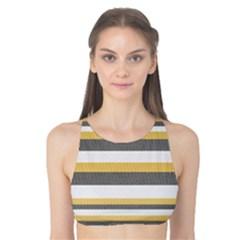 Textile Design Knit Tan White Tank Bikini Top