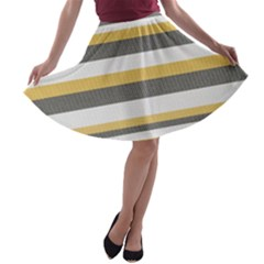 Textile Design Knit Tan White A-line Skater Skirt