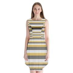 Textile Design Knit Tan White Sleeveless Chiffon Dress