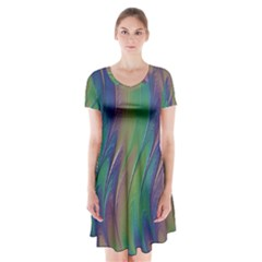 Texture Abstract Background Short Sleeve V-neck Flare Dress