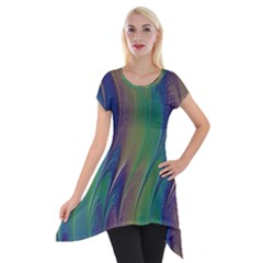 Texture Abstract Background Short Sleeve Side Drop Tunic