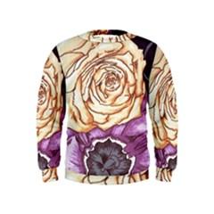 Texture Flower Pattern Fabric Design Kids  Sweatshirt