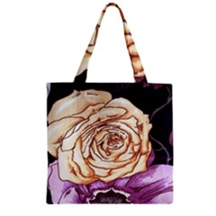Texture Flower Pattern Fabric Design Zipper Grocery Tote Bag
