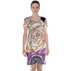 Texture Flower Pattern Fabric Design Short Sleeve Nightdress