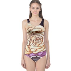 Texture Flower Pattern Fabric Design One Piece Swimsuit