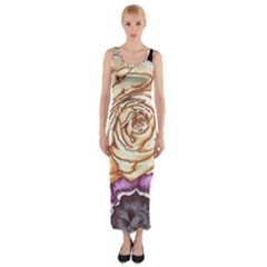 Texture Flower Pattern Fabric Design Fitted Maxi Dress