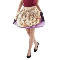 Texture Flower Pattern Fabric Design A-Line Pocket Skirt