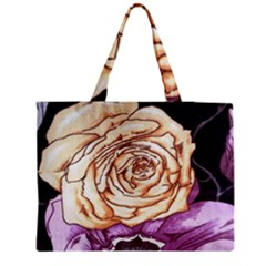 Texture Flower Pattern Fabric Design Medium Zipper Tote Bag
