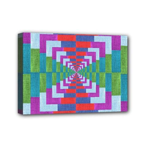 Texture Fabric Textile Jute Maze Mini Canvas 7  X 5