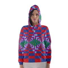 Texture Fabric Textile Jute Maze Hooded Wind Breaker (women)