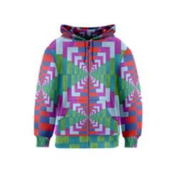 Texture Fabric Textile Jute Maze Kids  Zipper Hoodie