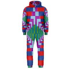 Texture Fabric Textile Jute Maze Hooded Jumpsuit (Men)
