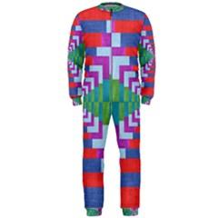 Texture Fabric Textile Jute Maze OnePiece Jumpsuit (Men)