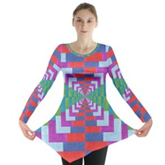 Texture Fabric Textile Jute Maze Long Sleeve Tunic