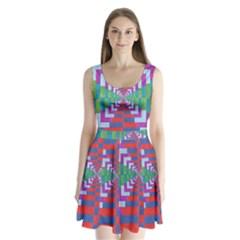 Texture Fabric Textile Jute Maze Split Back Mini Dress