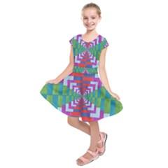 Texture Fabric Textile Jute Maze Kids  Short Sleeve Dress