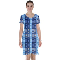 Textile Structure Texture Grid Short Sleeve Nightdress