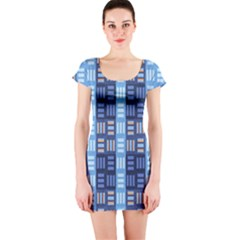 Textile Structure Texture Grid Short Sleeve Bodycon Dress