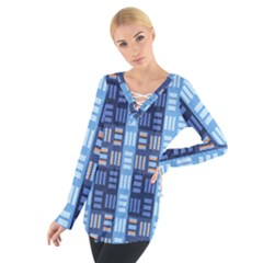 Textile Structure Texture Grid Women s Tie Up Tee