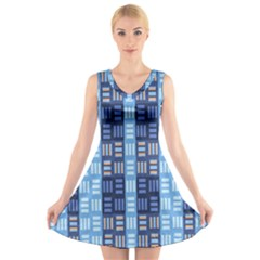 Textile Structure Texture Grid V Neck Sleeveless Skater Dress