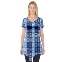 Textile Structure Texture Grid Short Sleeve Tunic
