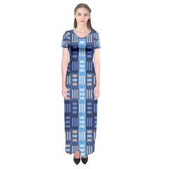 Textile Structure Texture Grid Short Sleeve Maxi Dress